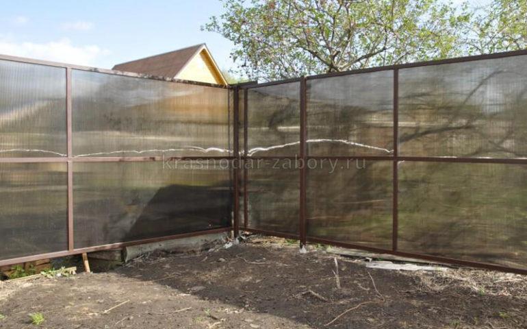 забор из поликарбоната в Краснодаре